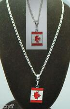 """18"""" or 24 Inch Chain Necklace & Canada Flag Pendant Charm Canadian Gift Souvenir"""