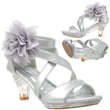 Girls Heel Sandals Strappy Rhinestone Flower Clear High Heel Dress Shoes Silver