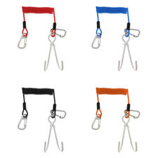 Safety Scuba Diving Dive Steel Dual Reef Drift Hooks & 1.5m Spiral Cable Lanyard