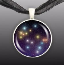 "Gemini Constellation Illustration 1"" Space Pendant Necklace in Silver Tone"