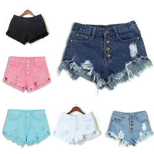 Women High Waisted Ripped Hole Short Mini Jeans Denim Pants Shorts Beach Summer