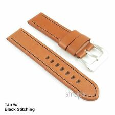 StrapsCo Vintage Style Thick Leather Watch Band Strap in Tan w/ Black Stitch