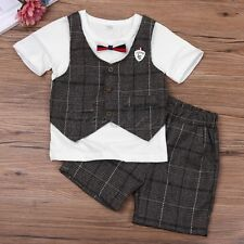 2pcs Baby Infant Kids Boy Gentleman Bow T-shirt Short Sleeve+ Short Pants Outfit