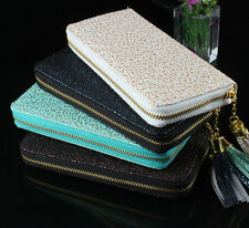 New Women Fashion Embossing Long Faux Leather Purse Clutch Zipper Wallet