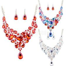 Wedding Bridal Drop Crystal Rhinestone Exaggerated Statement Necklace Earrings