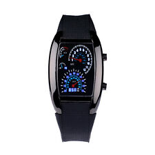Men US Chic RPM Turbo Blue LED Flash Sports Car Meter Dial Sports Wrist Watch