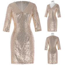 Sexy Women V-neck 3/4 Sleeve Sequined Bodycon Evening Party Cocktail Mini Dress