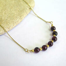 Adita UNIQUE 14K Solid Yellow Gold HANDMADE Garnet Beaded Necklace