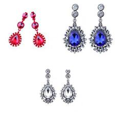 Wedding Bridal Rhinestone Crystal Teardrop Dangle Drop Earrings Party Jewelry