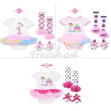 4pc Newborn Baby Girls Tutu Dress Romper Bodysuit Jumpsuit Outfits Sunsuit