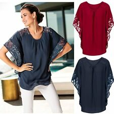 Plus Size Sexy Lace Batwing Blouse Shirts Women Summer Hollow Out Loose Tops Tee