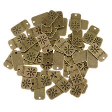 50pcs Necklace Tags Antique Silver Alloy Pendant Charms Jewelry Crafts Findings
