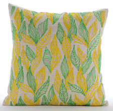 Green Cotton Linen 35x35 cm Multi Color Jute Leaves Cushion Cover- Leaves Change