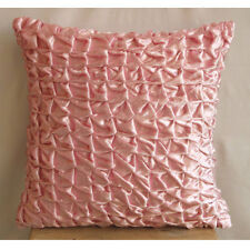 Knotted Pintucks Pink Velvet 55x55 cm Cushion Covers - Soft Pink Snow