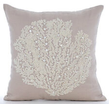 Beaded Sea Weeds 55x55 cm Cotton Linen Mocha Throw Cushions Cover - Pearl Weeds