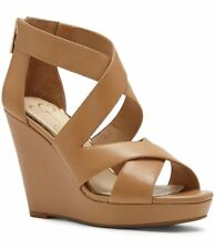 Jessica Simpson Jenay Wedge Sandal Buff Nude Leather Open Toe Platform Sandals