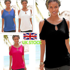 UK Womens Ladies Off Shoulder Blouse Beaded Decor T-shirt Casual Classic Tee Top