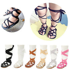Girl Baby Bandage Soft Crib Sole Leather Gladiator Cross-tied Sandal Shoes 0-18M