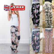UK Womens Harem Pants Ladies Flower Printed Loose Leggings Casual Baggy Trousers