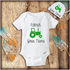 Personalized Farmer & Tractor Baby Boy Clothes Onesies Hat Baby Shower Gift Set