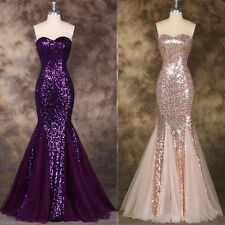 Purple Sequins Mermaid Long Formal Evening Prom Ball Gown Party Bridesmaid Dress