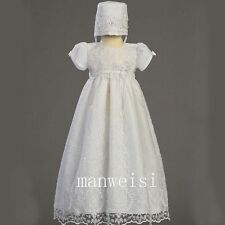 White Christening Short Sleeve Lace Baptism Long Gown Infant Baby Dresses+Bonnet