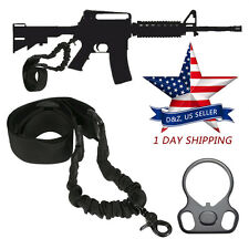 AR-15 223 Single Point Sling With Adapter Dual Plate Mount Bungee Tactical Rifle