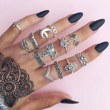 13pc/set Bohemian Vintage Women Silver Gold Elephant Finger Rings Punk Ring Gift