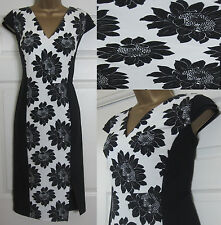 NEW EX Next Shift Floral Summer Dress Occasion Wedding Party Black White 6-16