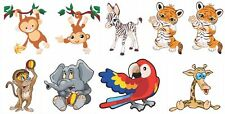 Jungle animal vinyl wall art stickers decals set of 8 full colour removable DIY