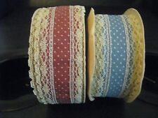 "MICRO DOT LACE AND MATERIAL TRIM, MAUVE OR LIGHT BLUE, 1-3/8"" WIDE"