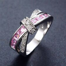 Women's Cross Ring Fashion Silver Diamond Filled Jewelry Wedding Purple Rings US