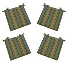 Set of 4 - In / Outdoor Aqua, Tan, Brown Stripe Foam Chair Cushions, Choose Size