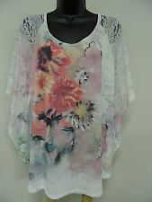 Plus Size 2X SUBLIMATION Top STRETCH Shirt LACE SLEEVES Trendy Blouse Cruise NWT