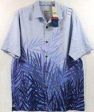 NWT Tommy Bahama Fronds In The Mist-Beachcomber Blue 100% Silk Camp Shirt $138