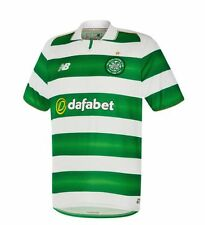 New Balance Mens Football Celtic FC Home Jersey Shirt Top 2016 2017 White Green