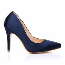 DARCY Navy Blue Satin Stilleto High Heel Pointed Bridal Court Shoes