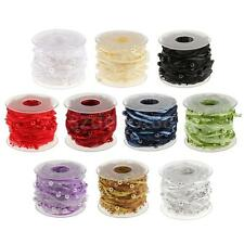 10m DIY Beaded Pearl Lace Trim Embellishment Applique Ribbon Sewing Craft Supply