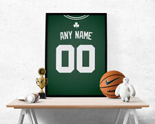 Boston Celtics Jersey Poster - Personalized Name & Number FREE US SHIPPING