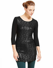 M&S COLLECTION Black 3/4 Sleeve Sequin Embellished Tunic Top Dress Sz UK 20