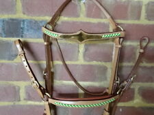 Barcoo bridle ri5 chestnut bridle  breastplate set  platted brow band green gold