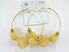 Gold mesh Poparazzi Basketball Wives Crystl COSTUME FASHION Hoop Earrings W3.5''