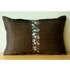 Pintucks And Crystals 30x35 cm Silk Brown Lumbar Cushion Cover - Crystal Dreams