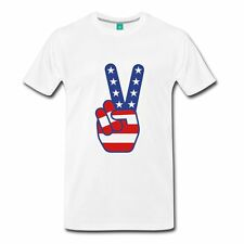 USA Flag Peace Sign July 4th Men's Premium T-Shirt by Spreadshirt™