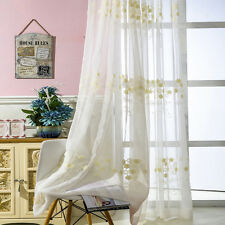 Embroidered Sheer Curtains Rod Pocket Simple Voile 1 Panel Organdy Tulle Divider
