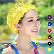 Vintage Floral Woman Bathing Shower Cap Swim Cap Petal Swimming Flowers Bead Hat
