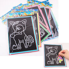 Colorful Scratch Art Paper Magic Painting Paper with Drawing Stick Kids ToyO5X