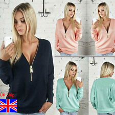 Womens Pullover Zip Plunge V Neck Top Baggy Loose Long Sleeve T Shirt Plus Size