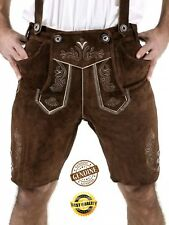 Mens Bavarian LEDERHOSEN Cowhide Black Leather with Matching Suspenders Shorts