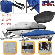 17' 19' 22' V-Hull Fish - Ski Trailerable Boat Cover Blue Color All Weather AS